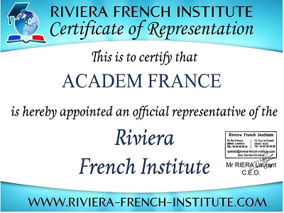 сертификат языковой школы Riviera French Institute